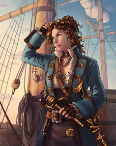 f Bard Pirate campaign d&d претрага Steampunk Characters, Dnd Characters, Fantasy Characters, Female Characters, Pirate Steampunk, Steampunk Airship, Dieselpunk, Steampunk Fashion, Pirate Art