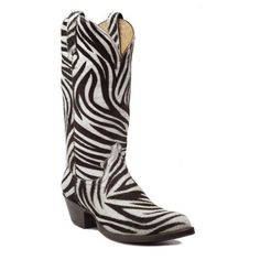 Zebra Hair-On Top & Bottom - CABOOTS - Custom Cowboy Boots