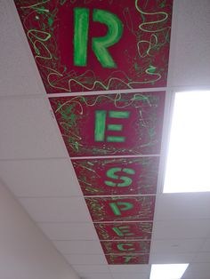 Ceiling Tile Art - love it! Wonder if we could do this with respectful, responsible, and safe?