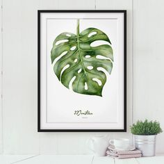 Impression d?art aquarelle Monstera I Plant Painting, Plant Art, Botanical Wall Art, Botanical Drawings, Cactus Pictures, Cactus Print, Plant Illustration, Portrait Art, Watercolor Paintings