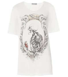 Military Heart Cotton T-Shirt by Alexander Mcqueen. White T-shirt has a round neck and short sleeves with a military skeleton and heart front print in black. Straight cut T-shirt, oversized loose-fitting style. #Matchesfashion