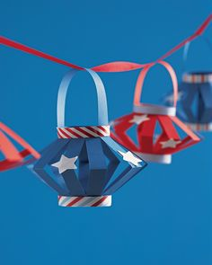 A garland of star-spangled paper lanterns is festive and fun for kids to make.
