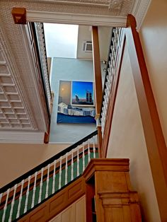 A look up the lobby staircase to a Tina Mion painting on the second floor of the Castaneda Hotel Second Floor, Restoration, Two By Two, Stairs, Flooring, Painting, Home Decor, Stairway, Decoration Home