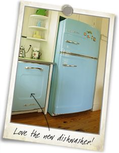 Love these brand new retro-styled appliances....I relaly like the fridge handles...reminds me of granddad's house
