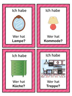 I have who has? German version of the I have ... Who has ...? game. This German game can be played to practice German house vocabulary. The game has 39 cards with a colorful frame and 39 cards with a simple black frame to save you ink. There are 4 cards per page.
