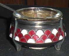 Russian Enameled Open Salt Cellar with Spoon.