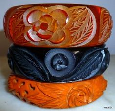 Carved Bakelite cuff bracelets