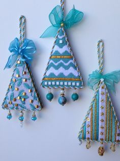 Marla G. stitched these Melissa Shirley needlepoint trees. Finishing by It's Done by Deborah. Beautiful aren't they?