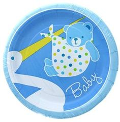 """Amazon.com: Custom & Unique {7"""" Inch} 8 Count Multi-Pack Set of Medium Size Round Circle Disposable Paper Plates w/ Stork Delivering Baby Boy Bear Wrapped in Blanket """"Blue, Yellow & White Colored"""": Kitchen & Dining"""
