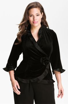 Alex Evenings Ruffled Velvet Wrap Top (Plus) available at #Nordstrom
