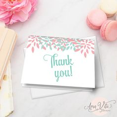 coral and mint printable thank you note card instant download bridal shower thank you