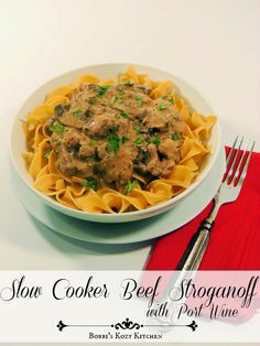 This Slow Cooker Beef Stroganoff recipe has creamy bites of beef, with earthy mushrooms, and is made ultra luxurious with the addition of port wine. It blows all other beef stroganoff recipes away! Best Beef Recipes, Slow Cooker Recipes, Crockpot Recipes, Cooking Recipes, Favorite Recipes, Yummy Recipes, Slow Cooking, Cooking Ideas, Slow Cooker Beef Stroganoff Recipe