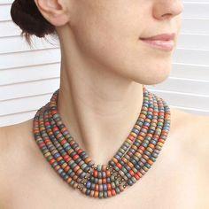 Ukrainian jewelry ceramic collar necklace - Ukrainian jewelry - Multicolored collar necklace by Etnicas on Etsy https://www.etsy.com/uk/listing/400694913/ukrainian-jewelry-ceramic-collar