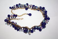 Vintage  Necklace HOBE Crystal Fringe Bib Blue 1950s by patwatty, $80.00
