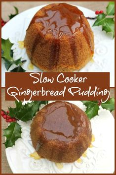 Slow cooker gingerbread pudding, a gingerbread flavoured pudding steamed in the slow cooker, ideal as an alternative Christmas dessert this year. Slow Cooker Cake, Slow Cooker Recipes Dessert, Crock Pot Desserts, Snack Recipes, Dessert Recipes, Crock Pots, Vegan Recipes, Steamed Pudding Recipe, Pudding Recipes