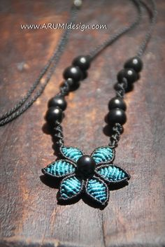 Fiber necklace TURQUOISE FLOWER micro macrame by ARUMIdesign