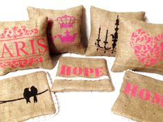 Burlap Crafts, Diy And Crafts, Decoration, Decorative Pillows, Stencils, Reusable Tote Bags, Textiles, Sewing, Crochet