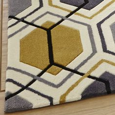 Hong Kong Rugs 7526 Grey Yellow Modern With Free Delivery To Mainland Uk Rug Comes A Thick Soft Acrylic Pile In