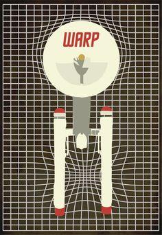 Warp, Star Trek, Retro, Posters, Enterprise, Warp Drive