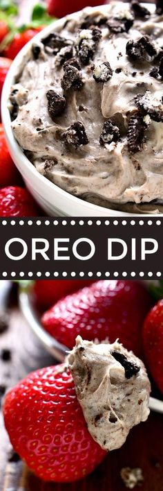 Creamy Oreo Dip - loaded with the delicious flavors of cookies & cream and perfect for dipping strawberries, cookies, or any of your favorite dippers! Dessert Dips, Dessert Parfait, Dessert Aux Fruits, Just Desserts, Delicious Desserts, Yummy Food, Oreo Dip, Cookies Et Biscuits, Cake Cookies