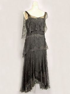 """French hand beaded silk chiffon dress, c. 1925. Labels: """"Made in France."""" and """"Emilienne Manass/320.Rue Saint Honoré. Paris."""""""