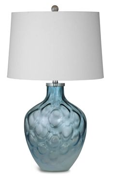 Cortina Blue Glass Shade Art Drum Table Lamp