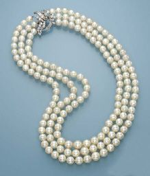 A VERY FINE THREE-ROW CULTURED PEARL AND DIAMOND NECKLACE, BY MEISTER