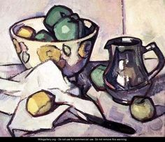 Still Life, Samuel Peploe - The bold outlines of this painting, clearly define the shapes of each of the objects in the composition. Different shades of each colour are used in the composition, which depicts where light is shining and wear lights absent. It has a watercolour effect, although it is an oil on canvas painting.