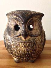 Vintage Retro 70s Studio Pottery Peter John Owl Money Box