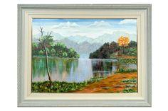 Pintura tela lago de Alacir Balbi