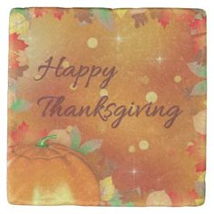 Colorful Autumn Leaves Thanksgiving Stone Coaster - Centerpiece idea; place small votive candles around this stone coaster to add a warm glow to your table {:-)