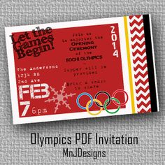 Invite your friends to watch the opening night of the Sochi Olympics 2014 with you! Customize this card and have a theme night at your house as you watch the Opening Ceremony! Email it to friends for a quick message