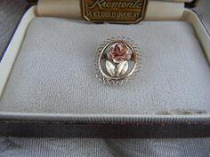 Vintage Oval Portrait Krementz Rose Brooch in Box | RosesHeirlooms - Jewelry on ArtFire