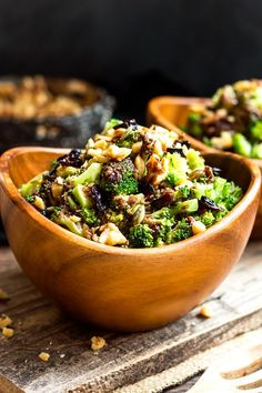Chopped Broccoli Salad with Balsamic, Walnuts and Cranberries | A healthy, gluten free side dish for broccoli salad that is tossed in a savory-sweet balsamic vinaigrette glaze and topped with pumpkin seeds, cranberries and walnuts.