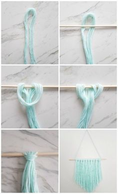 Make this DIY wall hanging in 15 minutes or less. All you need is yarn, dowel, and scissors. Looks amazing as wall art or in a gallery wall!!