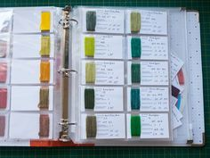 keeping a yarn dyeing notebook, with mathematical formulas for dyeing consistent colors using acid dyes