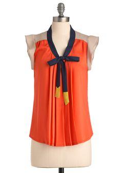 Aw Shucks Top - Long, Orange, Blue, Tan / Cream, Color Block, Cap Sleeves, Multi, Yellow, Bows, Pleats, Work, Nautical