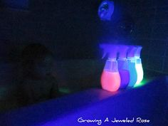 Glow in the dark bubble painting