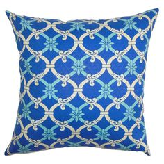 Reversible cotton pillow with a trellis motif. Made in the USA.   Product: PillowConstruction Material: Cotton an...
