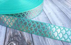 """Mermaid scale ribbon - Be a mermaid - Mermaid ribbon - Teal mermaid - Fish ribbon - Ocean ribbon - Sea life ribbon - 1"""" Grosgran ribbon -"""