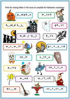 Actividad online de Halloween Vocabulary Halloween Vocabulary, Halloween Worksheets, Halloween Activities For Kids, Halloween Themes, Halloween Bingo, Vocabulary Worksheets, Vocabulary Practice, Reading Worksheets, Spelling Activities