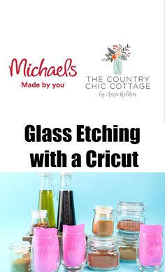 Grab your Cricut and use this technique to etch glass for gifts and so much more! This is one easy project but it gives amazing results! #cricut #cricutcreated Diy Videos, Craft Videos, Cricut Tutorials, Cricut Ideas, Cricut Vinyl, Cricut Craft, Mason Jar Crafts, Glass Etching, Diy Face Mask