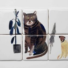 Hand-Painted-Tiles-Cat-Dog-Laura-Carlin-the-new-craftsmen- @ thenewcraftsmen.com