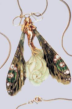 Art Nouveau Dragonfly Faerie Pendant by Rene Lalique. without the wings Bijoux Art Nouveau, Art Nouveau Jewelry, Jewelry Art, Vintage Jewelry, Fine Jewelry, Jewelry Design, Vintage Brooches, Diy Schmuck, Schmuck Design