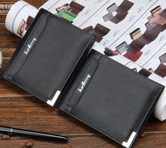 2015 Newest men's casual Toothpick Stripe Iron edge short walllets/purse/money clippes for man free shipping D13828
