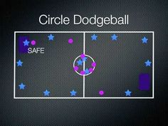 Circle dodge ball-I like the listed alternative better, that the tagged person switches places with the person in the middle.. I think I would start with 4 kids in the middle.. Make circle with markers in center of gym.
