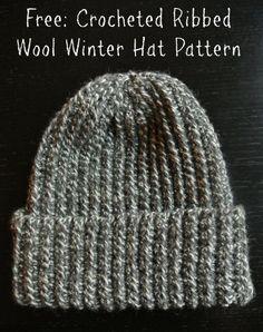 Crochet Ribbed Wool Winter Hat Free Pattern