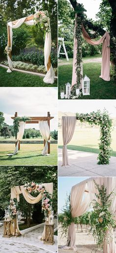 chic outdoor wedding arches with fabric drapery wedding arch Gorgeous Wedding Ceremony Ideas with Draped Fabric for 2019 - Page 2 of 2 - Oh Best Day Ever Wedding Ceremony Ideas, Gazebo Wedding Decorations, Wedding Arch Flowers, Wedding Arch Rustic, Gazebo Ideas, Rustic Wedding Archway, Outdoor Wedding Arches, Wedding Mandap, Wedding Backdrops