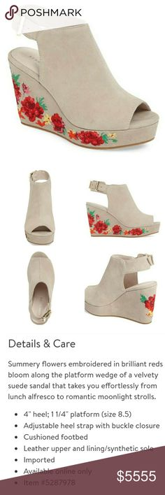 """Kenneth•Cole•""""Olani""""•Wedge GORGEOUS brightly colored embroidered wedges. Taupe suede (according to Nordstrom website). Worn for only 3 hours (see Pic 4 for bottom of shoes)!! They are quite comfortable, but I just can't pull off wedges this high anymore! Fit is TTS, in my opinion. Slight mark on left foot bed (see Pic 4). Gold tone buckles. Currently selling at Nordstrom for $150. Pics 3-4 are of actual shoes you are purchasing. Kenneth Cole Shoes Wedges"""