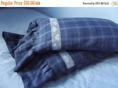 Autumn sale Set of Two Lovely Handmade Checks by LinenFactory